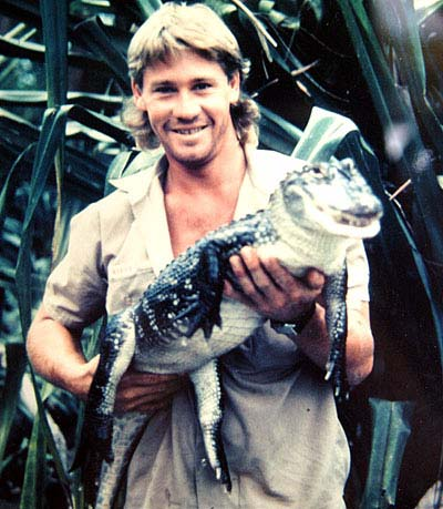 young Steve with croc